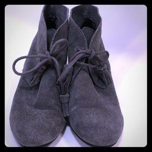 Size 6.5 grey suede booties EUC Crown Vintage